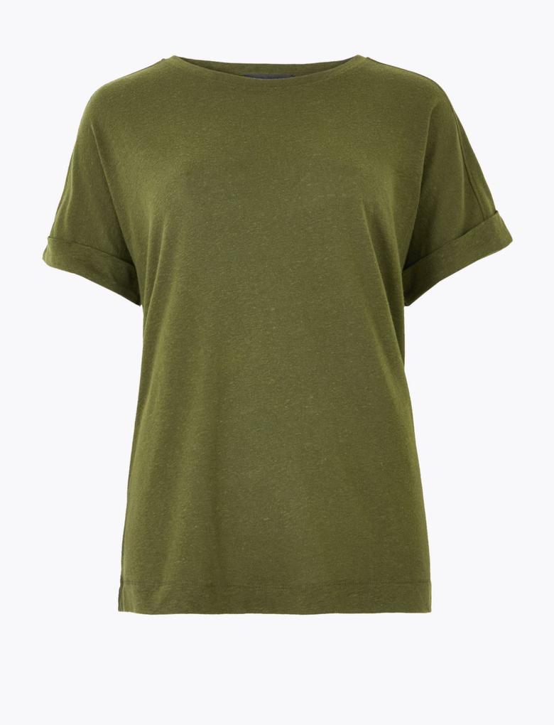 Kadın Yeşil Keten Relaxed Fit T-Shirt