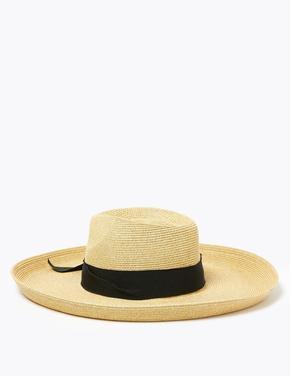 Kadın Krem Kurdale Detaylı Hasır Şapka