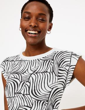 Kadın Krem Kısa Kollu Desenli Bluz