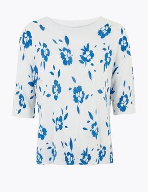Kadın Mavi Çiçek Desenli Relaxed Kazak