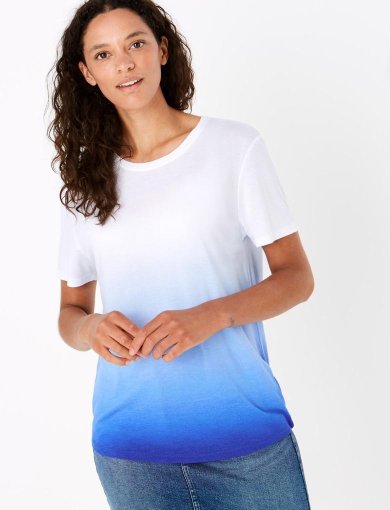 Kadın Mavi Renk Bloklu Relaxed T-Shirt
