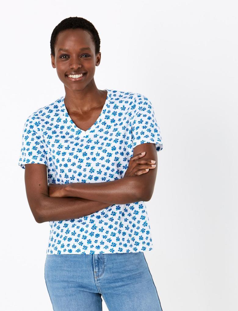 Kadın Mavi Saf Pamuklu Çiçek Desenli T-Shirt