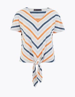 Kadın Mavi Geometrik Desenli Bluz