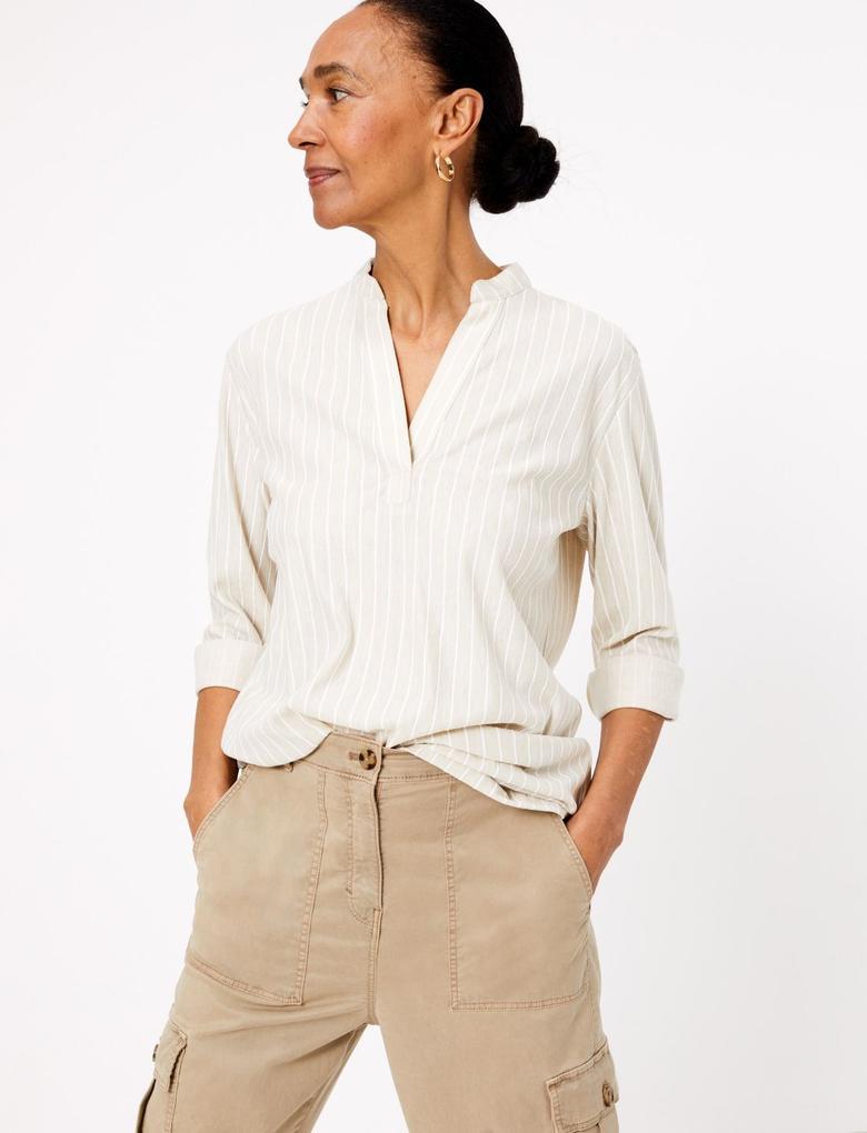 Kadın Multi Renk Çizgili V Yaka Bluz