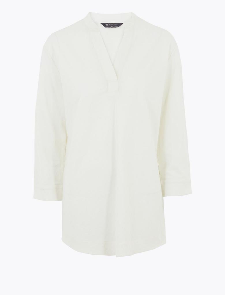 Kadın Beyaz Uzun Kollu V Yaka Bluz