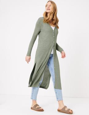 Kadın Yeşil Düğme Detaylı Midi Hırka