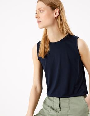 Kadın Lacivert Pamuklu Bluz