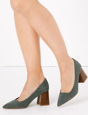 Kadın Gri Sivri Burunlu Topuklu Ayakkabı