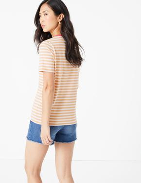 Kadın Turuncu Çizgili Straight Fit T-Shirt