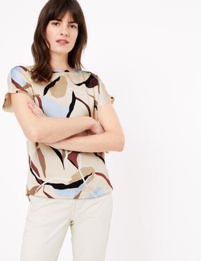 Kadın Krem Desenli Kısa Kollu T-Shirt