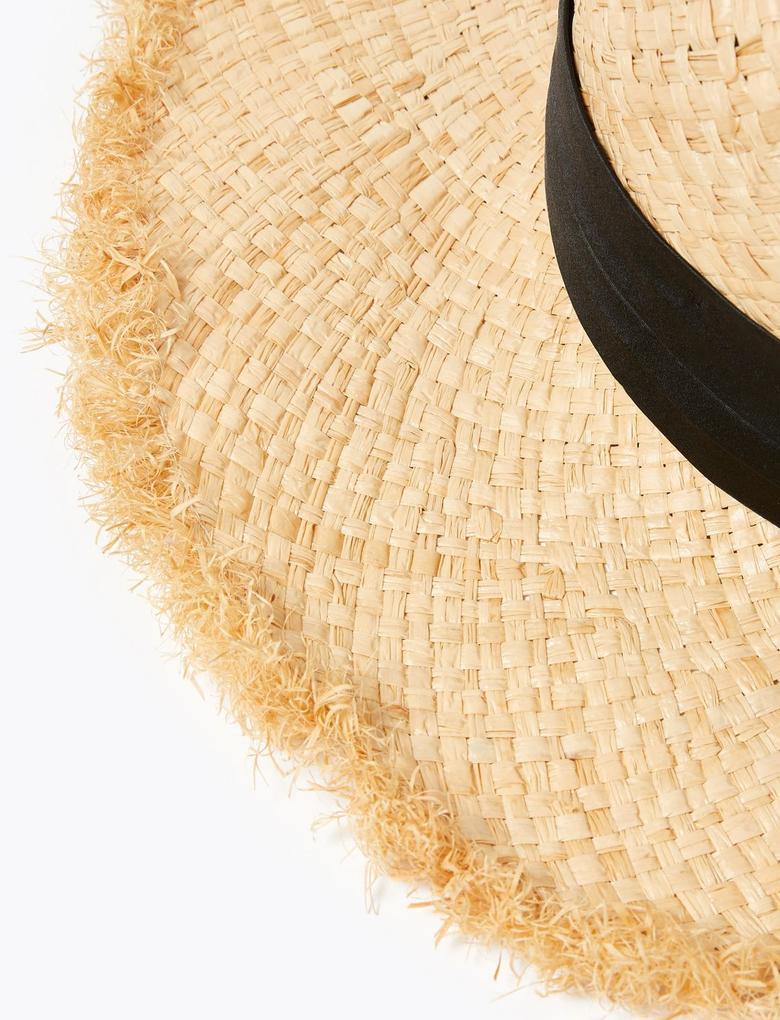 Kadın Renksiz Kurdele Detaylı Hasır Şapka