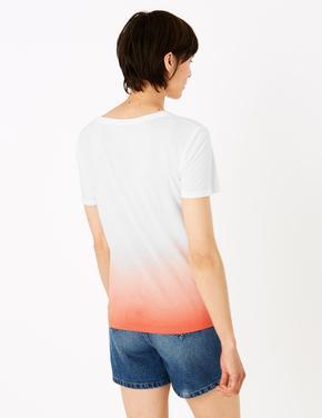 Kadın Turuncu Renk Bloklu Relaxed T-Shirt