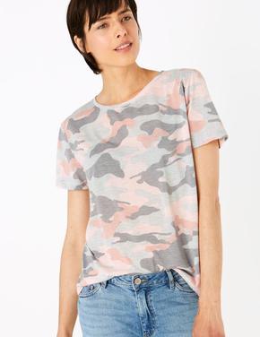 Kadın Gri Desenli Yuvarlak Yaka T-Shirt