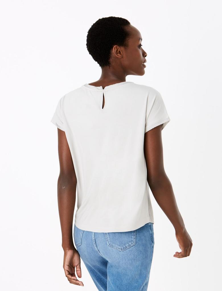 Kadın Gri Kısa Kollu Straight Fit Bluz