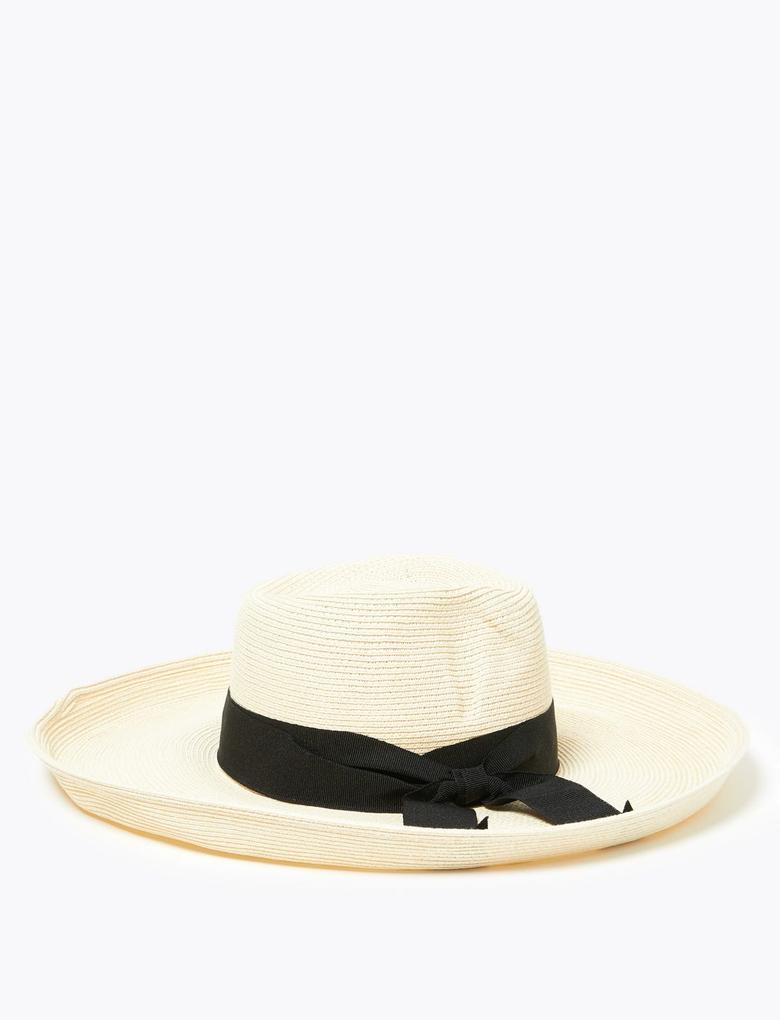 Kadın Bej Kurdale Detaylı Hasır Şapka