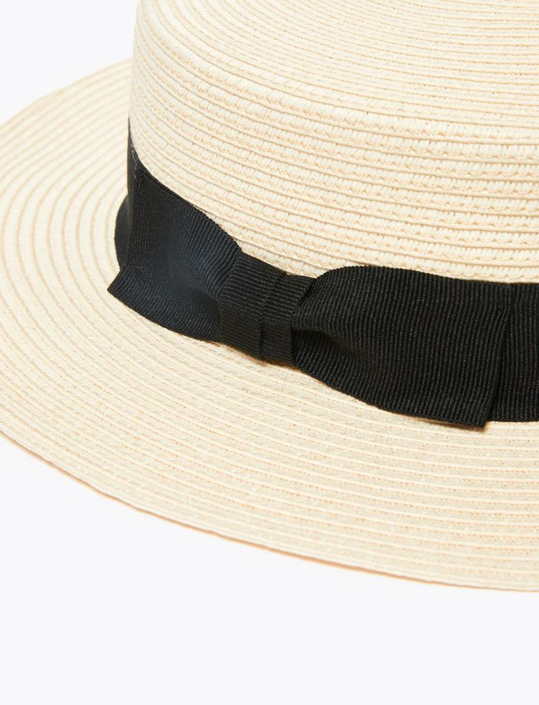 Kadın Bej Fiyonk Detaylı Hasır Şapka