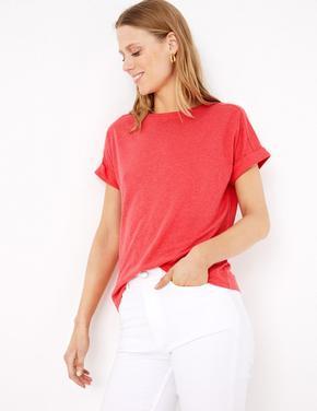 Kadın Kırmızı Keten Relaxed Fit T-Shirt