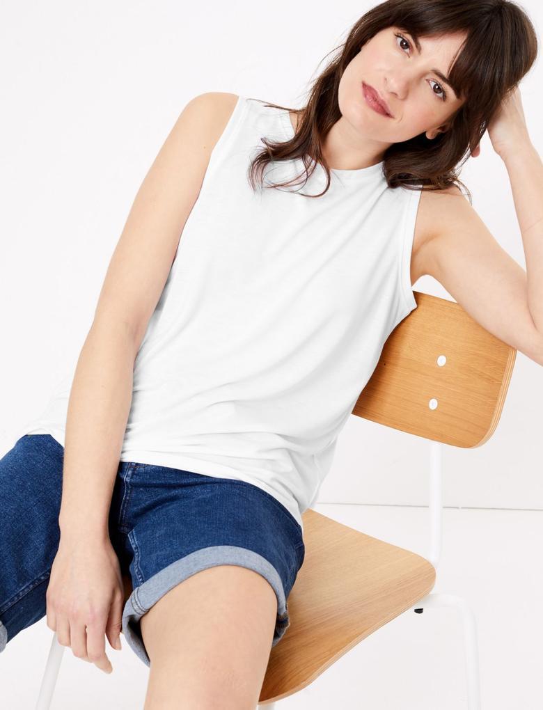 Kadın Beyaz Pamuklu Bluz