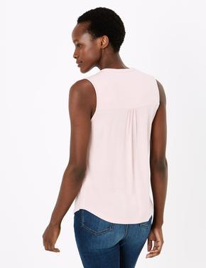 Kadın Pembe V Yaka Bluz