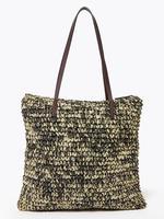 Kadın Siyah Hasır Shopper Çanta