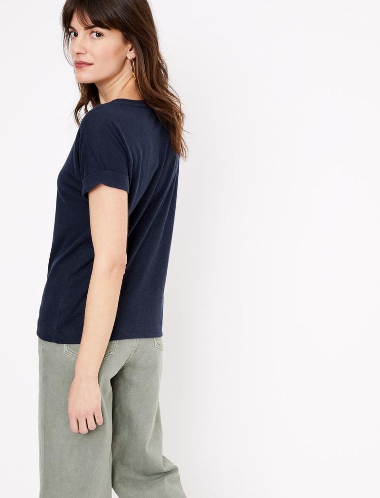 Kadın Lacivert Keten Relaxed Fit T-Shirt