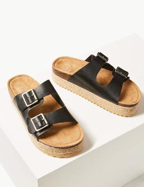 Kadın Siyah Deri Tokalı Düz Sandalet