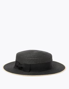 Kadın Siyah Fiyonk Detaylı Hasır Şapka
