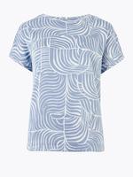 Kadın Mavi Desenli Kısa Kollu T-Shirt