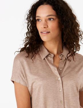 Kadın Renksiz Kısa Kollu Jarse Gömlek