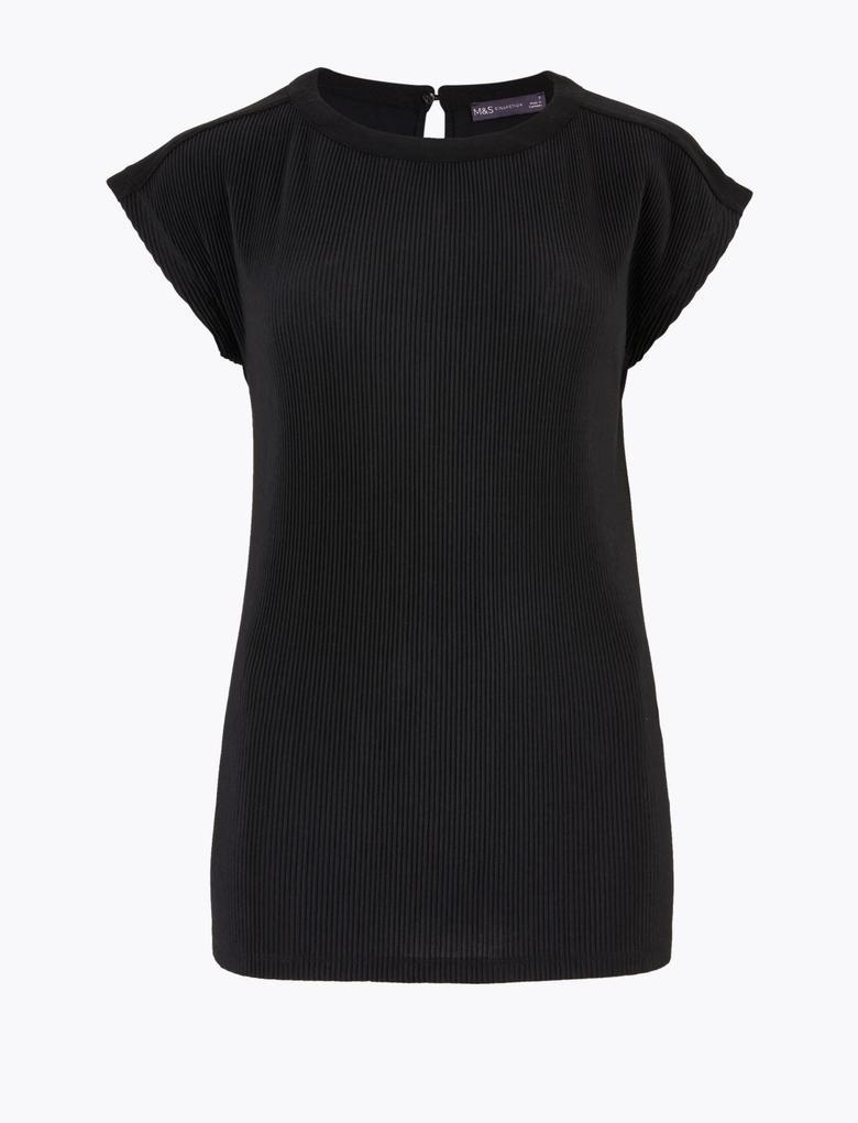 Kadın Siyah Dokulu Kısa Kollu Bluz