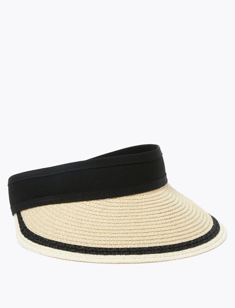 Kadın Krem Çizgili Vizör Şapka