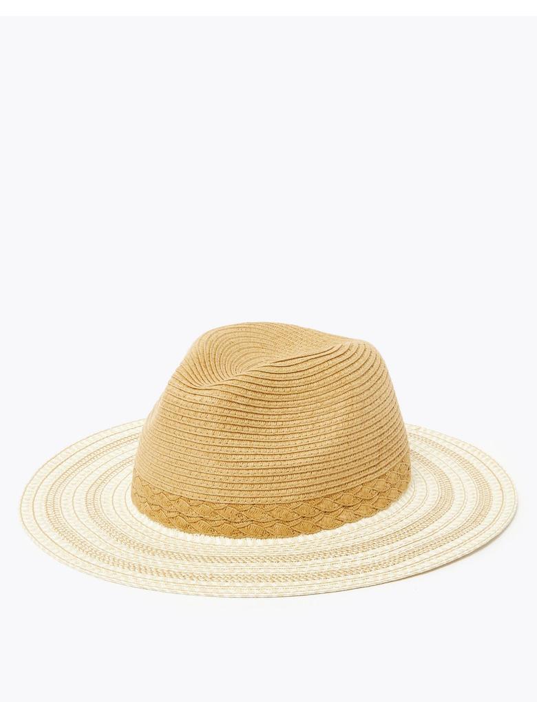 Kadın Bej Dokulu Fötr Şapka