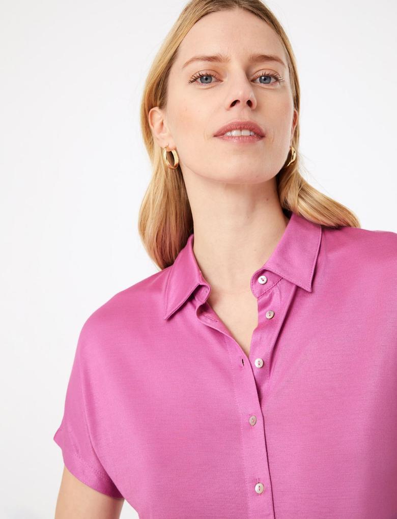Kadın Mor Stright Fit Jarse Gömlek