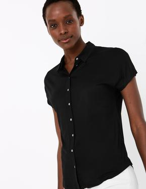 Kadın Siyah Stright Fit Jarse Gömlek