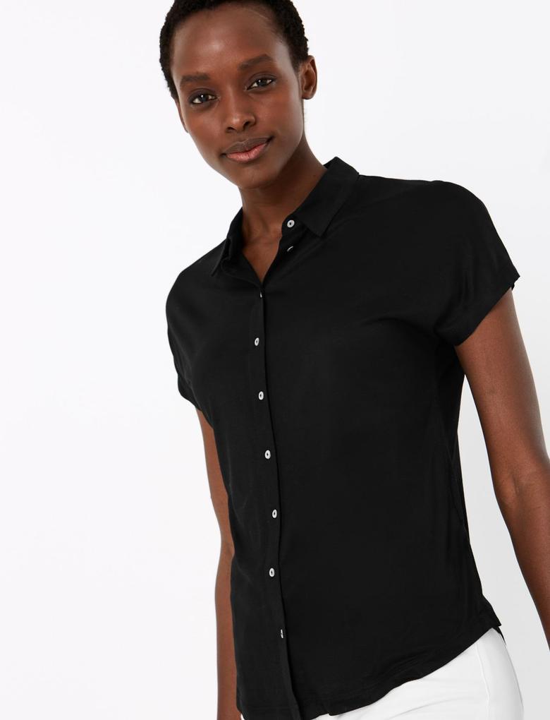 Kadın Siyah Kısa Kollu Merserize Gömlek