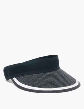 Kadın Lacivert Çizgili Vizör Şapka