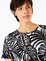 Kadın Siyah Tropical Dessenli T-Shirt