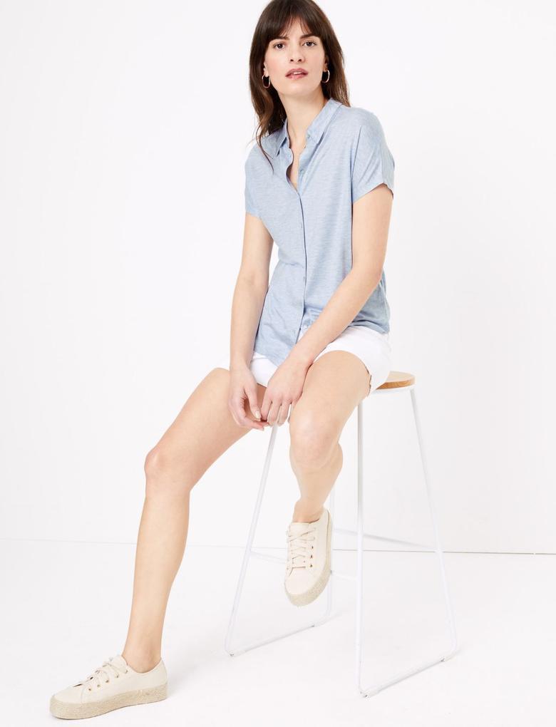 Kadın Mavi Kısa Kollu Jarse Gömlek