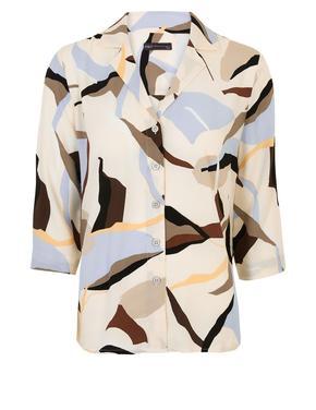 Kadın Krem Desenli Gömlek