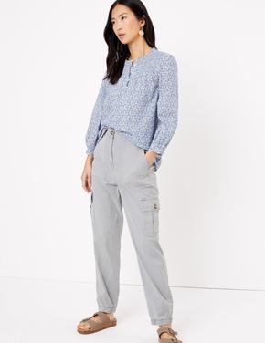 Kadın Mavi Desenli Uzun Kollu Bluz