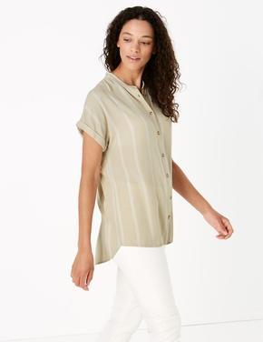 Kadın Multi Renk Kısa Kollu Çizgili Bluz