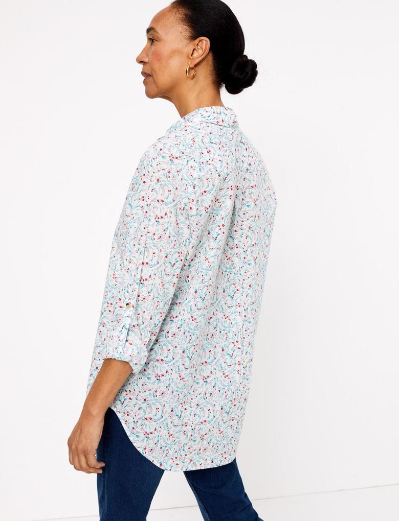 Kadın Krem Saf Pamuklu Relaxed Gömlek
