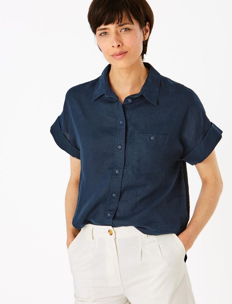 Kadın Lacivert Keten Gömlek