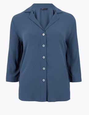 Kadın Lacivert 3/4 Kollu Relaxed Gömlek