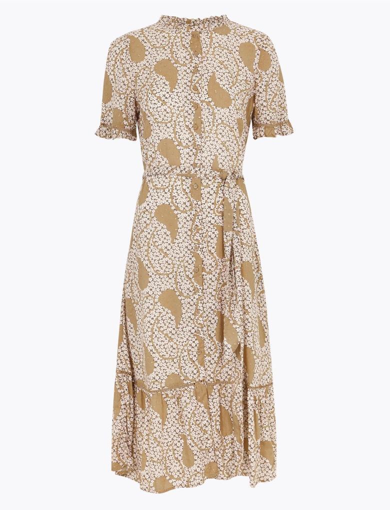 Kadın Renksiz Desenli Midi Gömlek Elbise