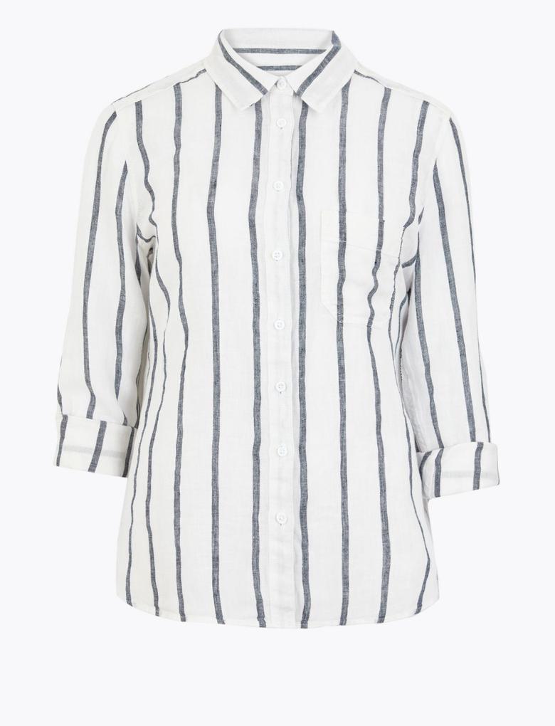 Kadın Beyaz Çizgili Keten Gömlek