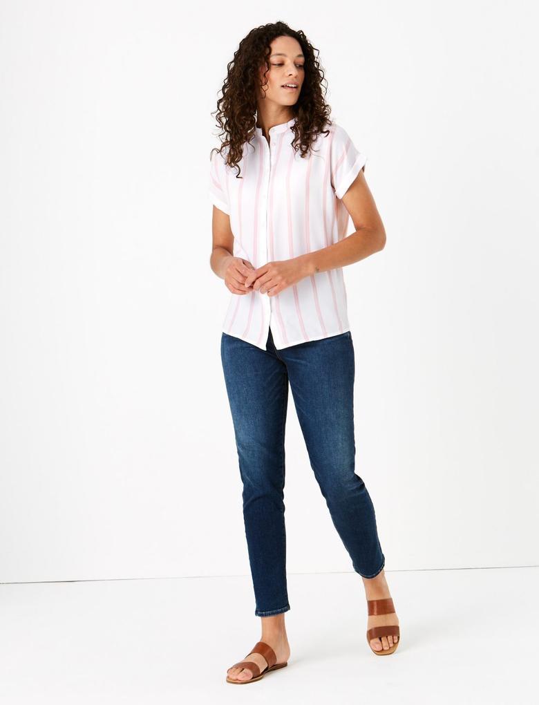 Kadın Pembe Kısa Kollu Çizgili Bluz