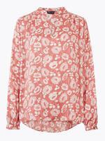 Kadın Pembe Çiçek Desenli Saten Popover Bluz