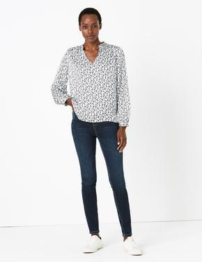 Kadın Mavi Desenli Saten Bluz