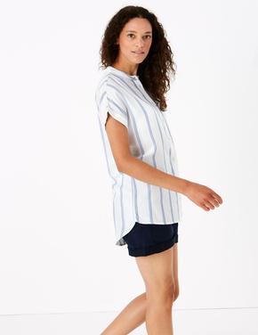 Kadın Mavi Kısa Kollu Çizgili Bluz